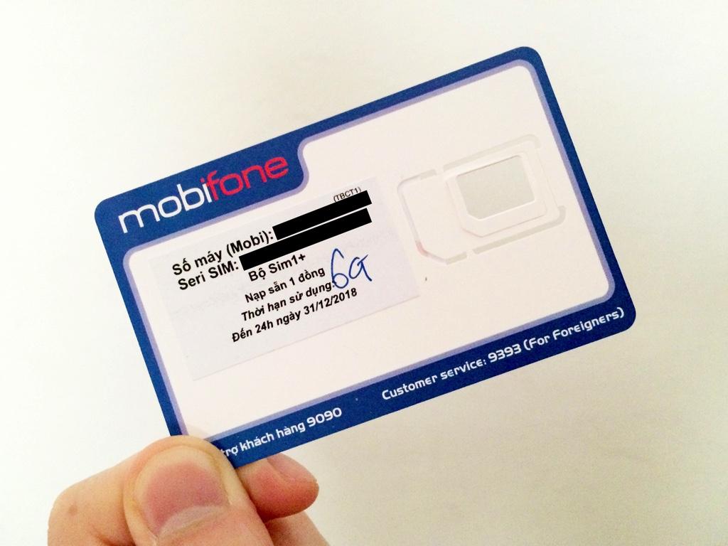 mobifoneのSIMカード台紙