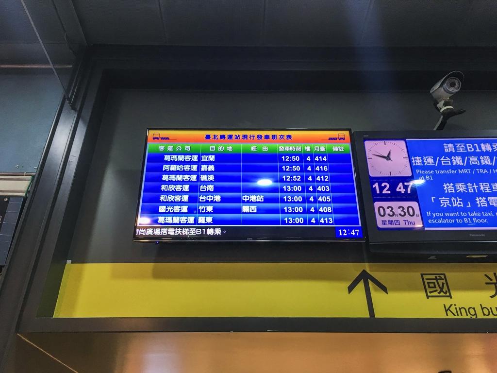 各バスの出発時間などを知らせるモニタ
