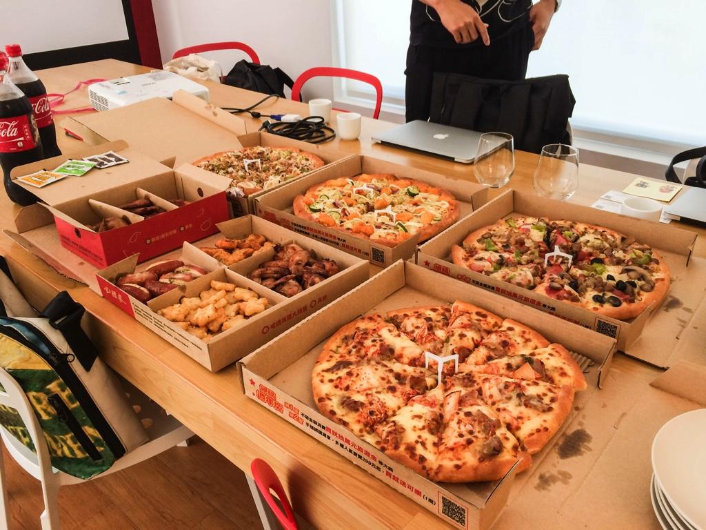 台湾の会社で食べたピザ