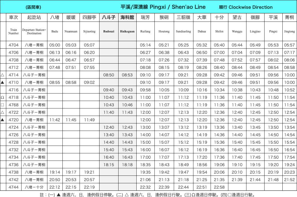 平渓線の電車の時刻表