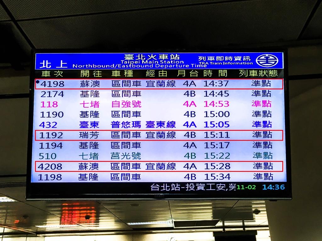 台北駅4番ホームの時刻表