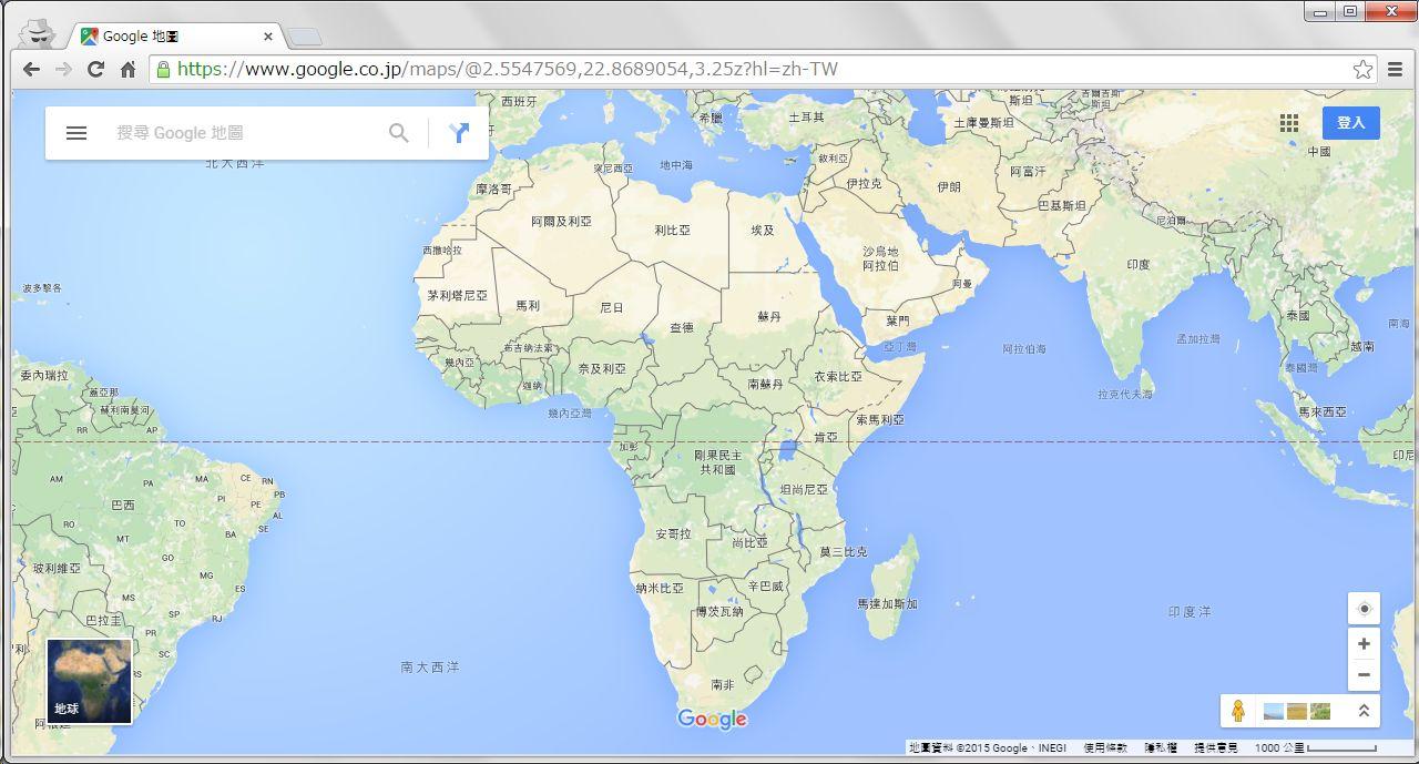 Google Maps(繁体字設定)で西・中央・南アジアを見る