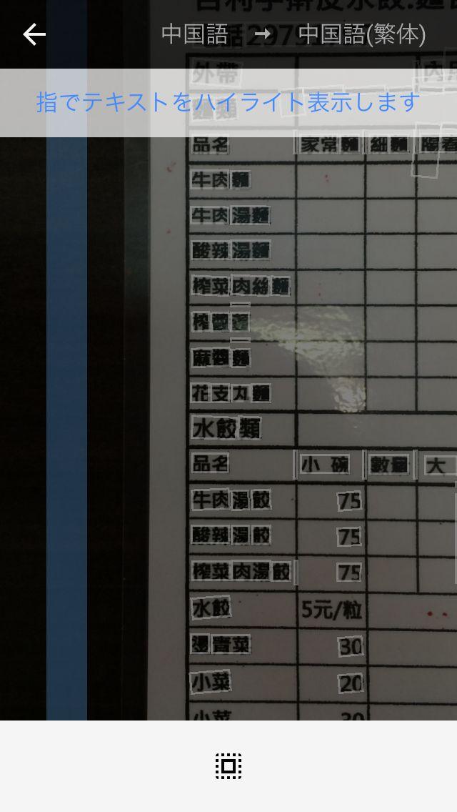 スキャン後、翻訳可能な文字が四角で囲まれる