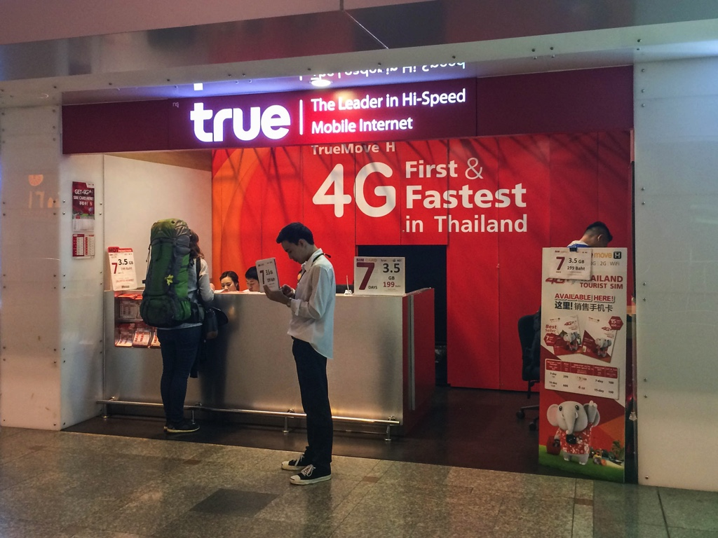 タイのツーリストSIM「TrueMove H」を販売するTrue