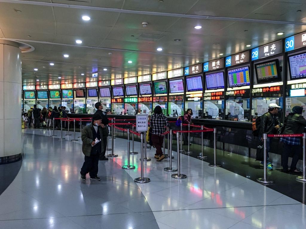 台北バスターミナルのチケット売場