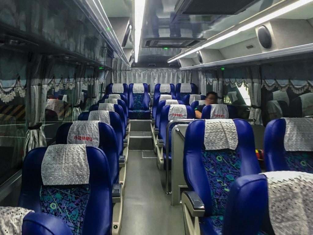 新竹行きのバスの車内