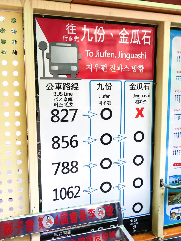 九份行きバスの路線番号