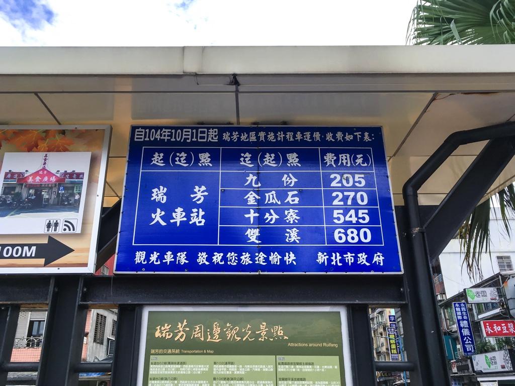 瑞芳駅を起点とした各観光地のタクシー運賃表