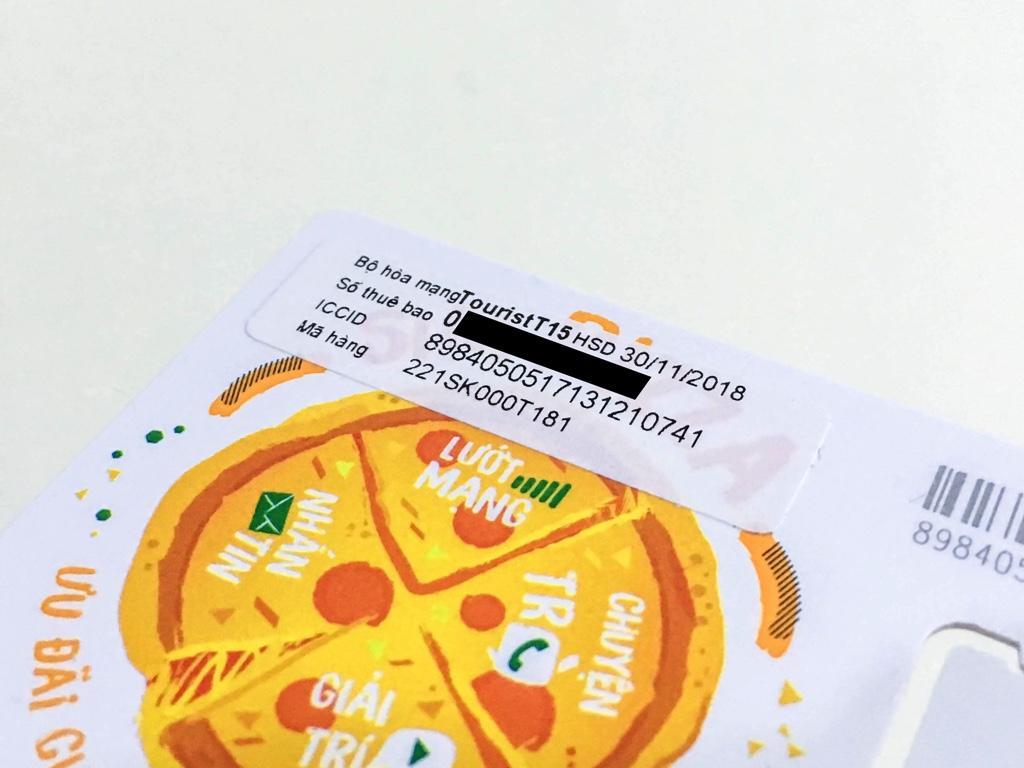 VietnamobileのSIMカードの台紙