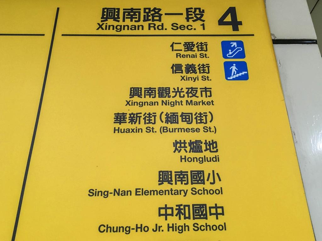 MRT「南勢角」駅の出口案内