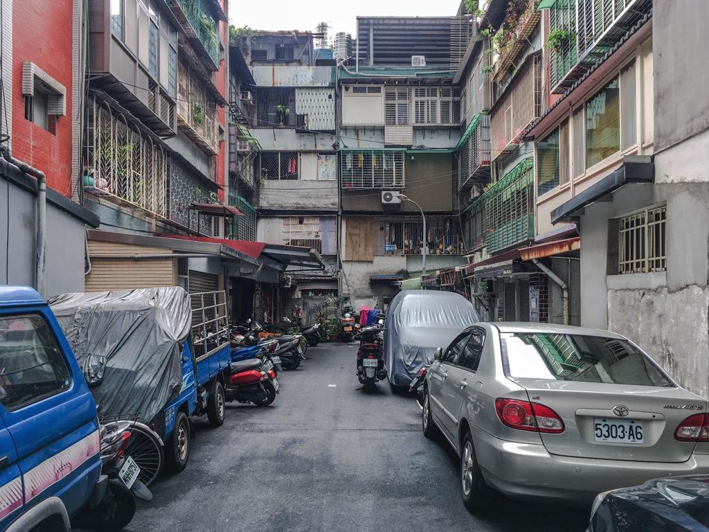 コの字型になっている住宅地。