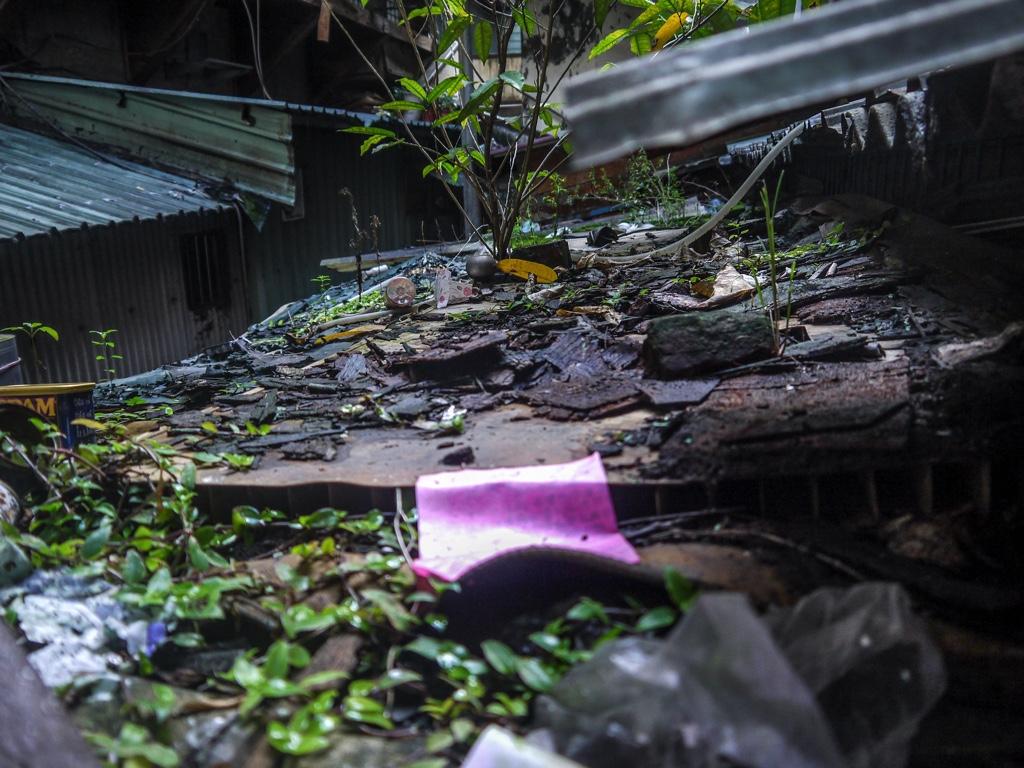 南機場公寓第三期のゴミや建築資材、植物が積み重なった屋根