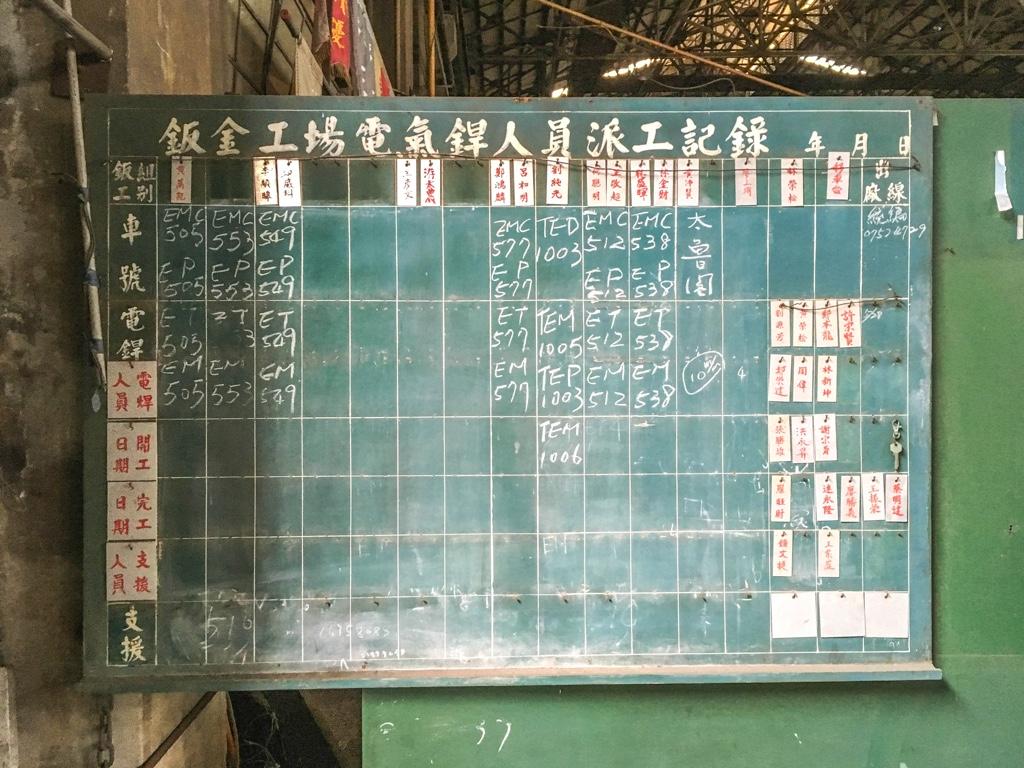 工員の作業記録用ボード