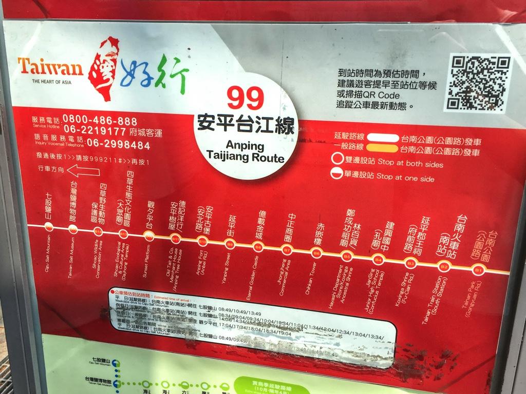 台南の99路線バスの路線図