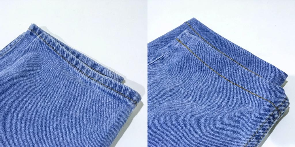 デニムパンツの裾のビフォーアフター