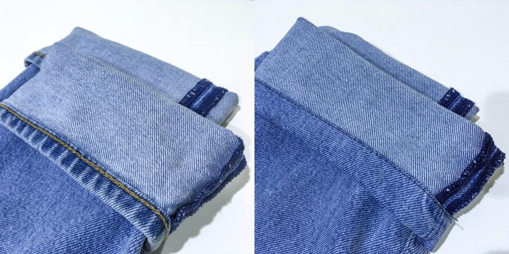 デニムパンツの裾を折った状態のビフォーアフター