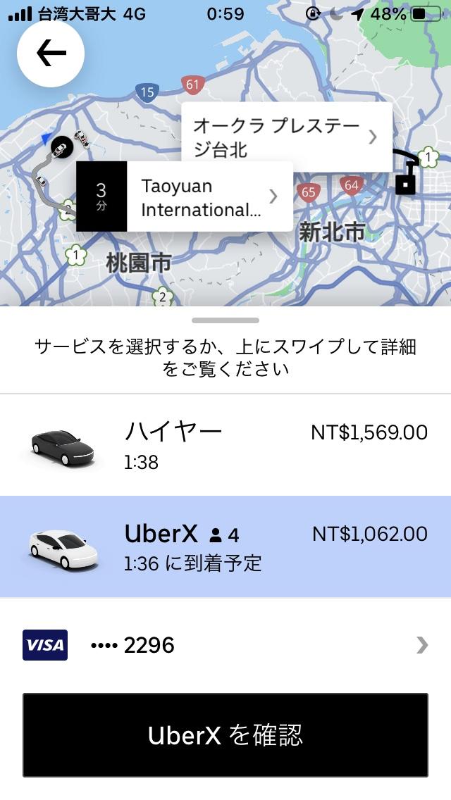 Uberの行き先と車種の指定画面