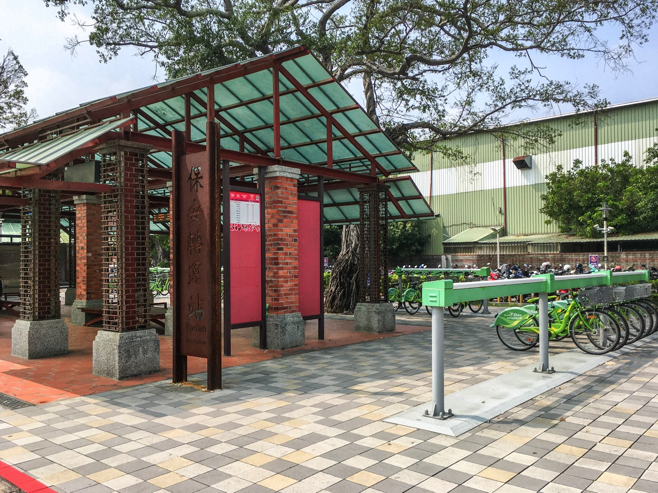 保安駅前のT-Bikeステーション